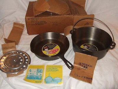 NEW NOS Vintage Wagner Ware 1268 1058 Cast Iron Skillet Dutch Oven Trivet Set 22