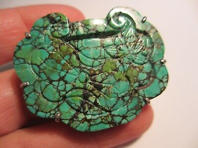 Rare Antique Chinese Veined Turquoise&sterling Lock Pendant/amulet-Deadly Piece