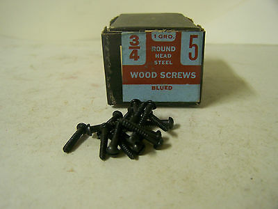 "#5 x 3/4"" Blued Wood Screws Round Head Slotted Vintage Made in USA Qty 144"