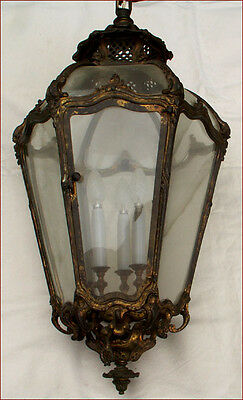 "Large 32"" French Ormolu Bronze Lantern Chandelier Louis XV Curved Glass 1860"