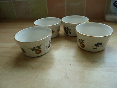 Four Crown Devon Fieldings Ramekin Dishes ~ Fruit Decoration