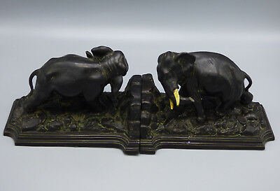 Antique Ronson Pair of Metal Elephant Bookends from 1920's