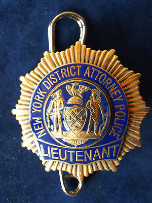 Police Badge New York City District Attorney Police Lieutenant kein NYPD