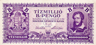 10 000 000  Bilpengo From Hungary1946!ef Banknote!pick-135