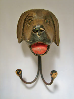 Vintage Wood Carved Dog Head Coat Hanger - Stunning Folk Art!
