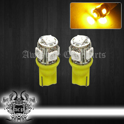 Yellow T10 50 50 Yellow Wedge Replacement Smd Led Light Bulbs Lamp Plate Drl Jdm