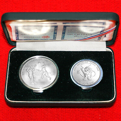 1988 Seoul Olympic Game.925 Silver(2 Coin) Proof Set 10000 & 5000 Won Volleyball