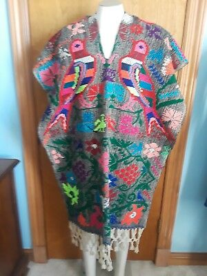 Colorful Mexican Serape Woven Blanket Poncho Birds and Flower Design.