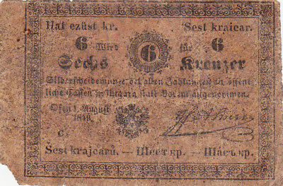 """6 Kreutzer Vg Banknote From Austria-Hungary 1860!hungarian """"almassy""""issue!"""