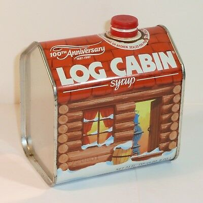 Vintage Metal Log Cabin Pancake Syrup Tin ~ 100th Anniversary 1887 1987