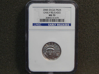 2006 $25 American Platinum Eagle 1/4 oz NGC MS70 EARLY RELEASES Blue Label