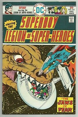 Superboy No. 213 Dec. 1975 W/ Legion Of Superheroes M. Grell Art Dc Comics Vf+