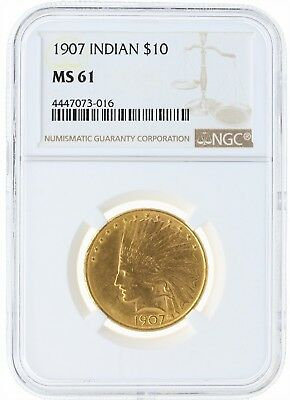 1907 NGC MS61 $10 Indian Head Gold Eagle with Radiant Luster