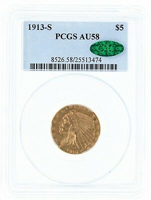 1913-S PCGS AU58 $5 CAC Indian Head Half Eagle Original Look and CAC Accepted