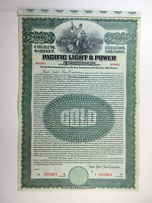 CA. Pacific Light & Power Corp., 1911 $1,000 Specimen 5% Series A Gold Bond XF