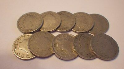 10 - Liberty Head Nickels - Lots Of Dates