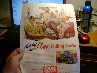1946 Old Magazine Print Ad Gmc Trucks Ask Gi Joe About Gmc Pulling Power Barber
