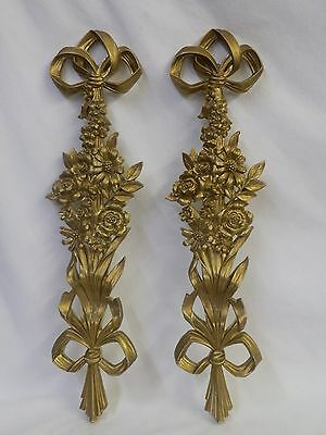 Pair Vintage Hollywood Regency Syroco Gilt Floral Side Swags