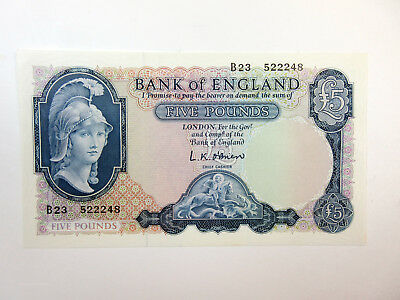 Bank of England, 5 Pounds ca.1961 O'Brien Sig. P-372a Issued Note CU/Gem Unc.