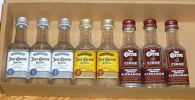 8  EMPTY  Assorted  50ml JOSE CUERVO LIQUOR PLASTIC BOTTLES   USED