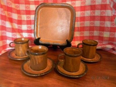 Mccoy Pottery Canyon 4 cups and suacers and one square plate
