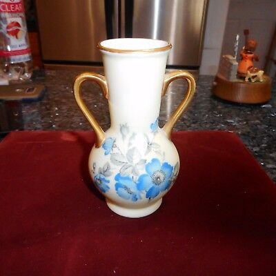 Antique Matte cream w Overblown Blue Flowers Small Vase Hand Painted