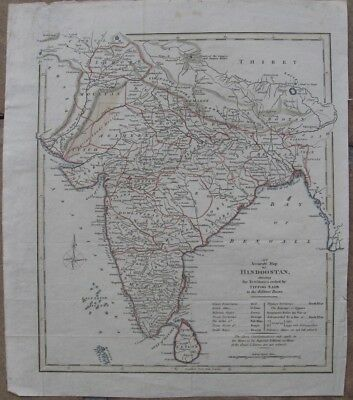 "1802 Antique Map - ""Hindoostan Shewing Territories Ceded by Tippoo Saib"" - India"