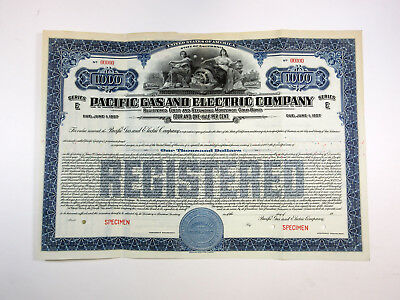 CA. Pacific Gas & Electric Co., 1940s $1,000 Registered 4 1/2% Specimen Bond XF