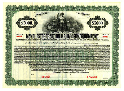 Manchester Traction Light and Power Co., 1917 Specimen Bond