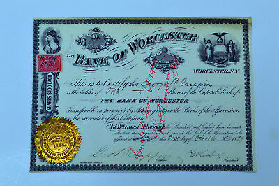 NY. Bank of Worcester, 1899 1 Shr I/C Stock Certificate #99, XF condition