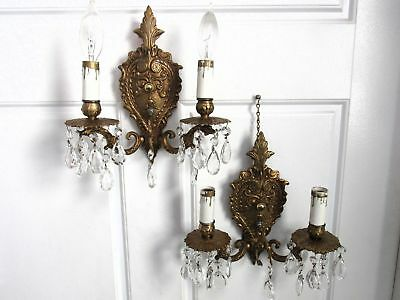 Vintage Ornate Pair Brass & Crystal Electric Wall Sconces