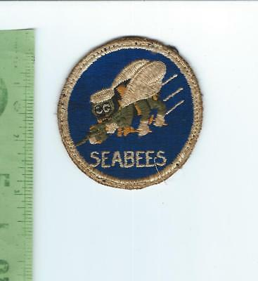 WWII USN US Navy SEABEES   patch  was on a uniform