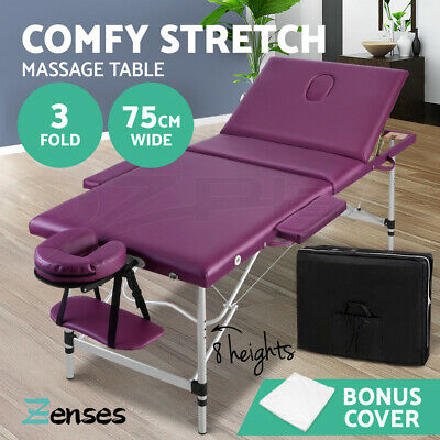 Zenses Massage Table 75cm Portable 3 Fold Aluminium Beauty Therapy Waxing Bed