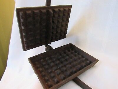 antique hand-forged long handle waffle iron press cast wrought iron primitive