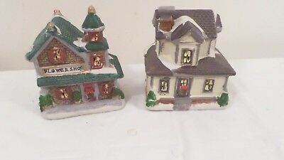 Christmas Village Houses.2 Ceramic Christmas Village Houses 4 1 4 Flower Shop Victorian House