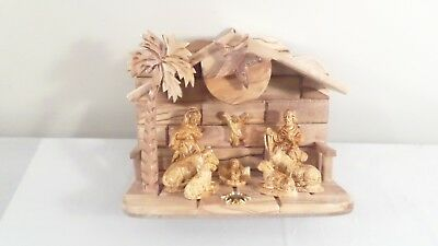 """Wood Carved Musical Nativity Scene """"Silent Night"""""""
