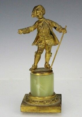 Antique French Style Gilt Bronze Miniature Statue of Dapper Young Boy NR SMS