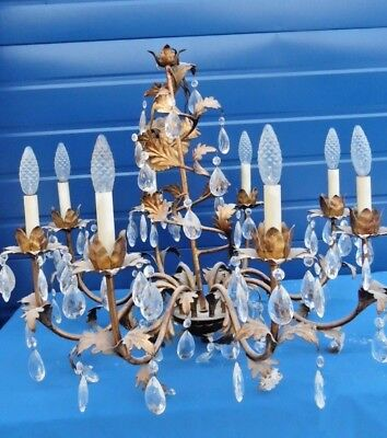 """Vintage Italian 8 arm Gilt Tole Chandelier with Canopy Crystal Gold 27"""" W 30""""h"""