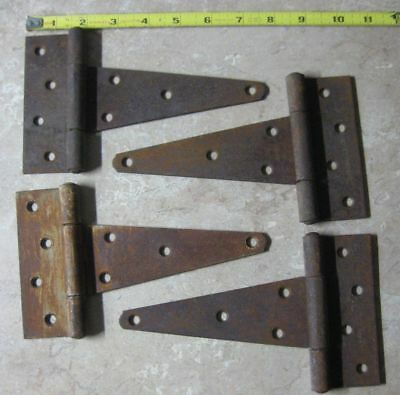 Lot Of 4 Matching Antique Hinges For Gates, Barn Door, Large Cabinet Etc