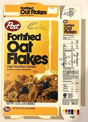 Vintage 1985 Post Fortified Oat Flakes Cereal Box,Unused Flat Color Test Box