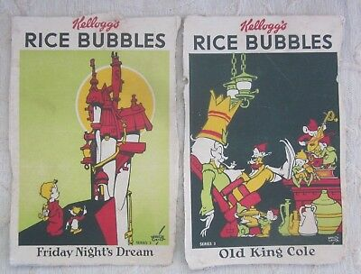 2 vintage 1930s KELLOGGS RICE BUBBLES Advertising NURSERY RHYME 3 cut out panels