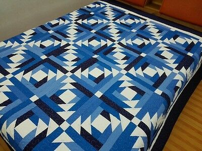 Queen size machine pieced and quilted Log Cabin  Patchwork quilt / #J-68