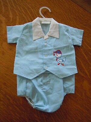 Vintage Cotton Candy Baby Boy Infant Outfit Embroidered Plastic Lined Pants