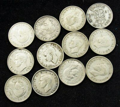 Lot of 12 Great Britain Silver 6 Pence of George VI -1937-46- Total ASW-0.542 oz