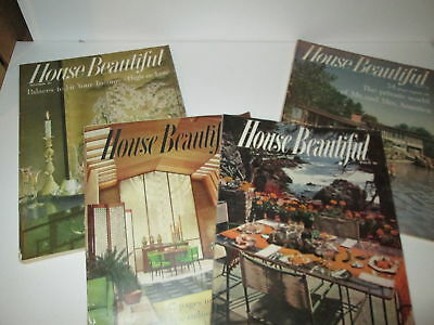 4 Vintage HOUSE BEAUTIFUL Magazines 1950s Mid-century Interior Design Home WOW