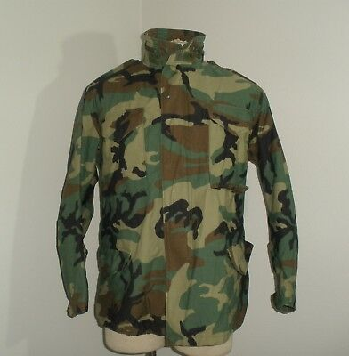 Vtg 90's WOODLAND CAMO AIR FORCE ARMY Military M-65 cold weather Field Jacket M