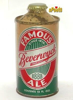 NICE 1930's FAMOUS BEVERWYCK ALE IRTP NEW YORK CONE TOP BEER CAN ALBANY,NY GOLD