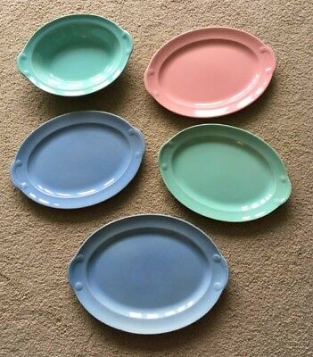 LuRay T.S.&T. Taylor Smith Pastels 5/PC Set Plates Serving Bowl Blue Green Pink