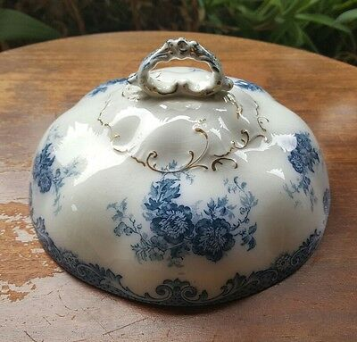 Antique Flow Blue Dome Lid only Floral Lt Blue 7.5in Diameter 3.5in Tall