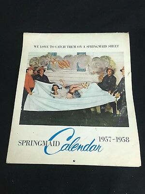 Springmaid Sheets 1957-1958 Calendar Advertising Vintage Illustrated